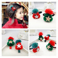 4PCS Lovely Girl Children Hair Clip Christmas Gift Girls Hair Ring  Xmas Hat Green Red Star Kids Hair Accressories