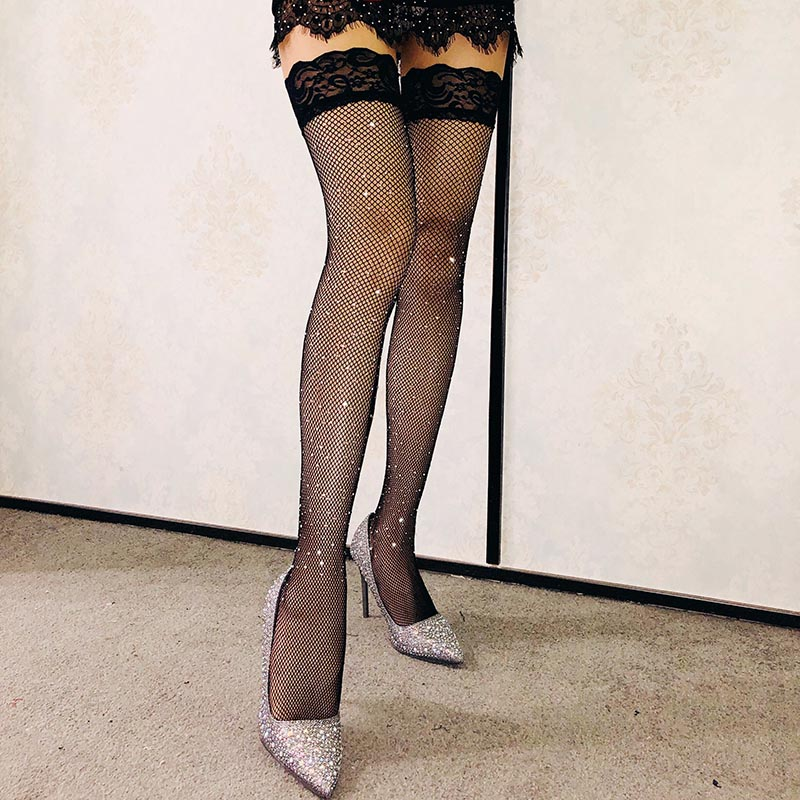 1 Pair Sexy Women Hollow Lace Mesh Stockings Embroidery Fishnet Long Thigh Hosiery FS99
