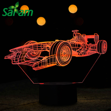 7 Colours Mini Racing Car 3D LED Night Lights with Table Lamp as Children Room Desk Lamps for Bed Modern Touch Usb & Kids Gifts