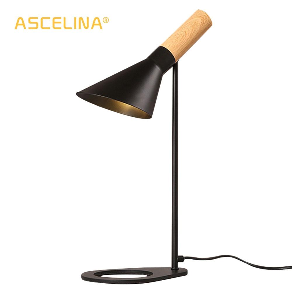 ASCELINA Table Lamp LED Nordic Modern Creative Adjustable Fashion Iron Solid imitative Wood Bedside Lamp for