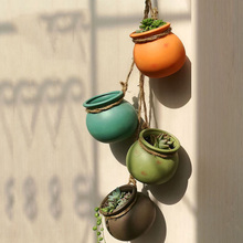 4 pcs/6 pcs Wand Halterung Hängen Keramik Pflanzer Topf Sukkulente Topf Kaktus Bonsai Pflanzer Töpfe Behälter mit jute Seil