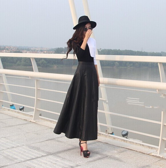 8c6b941690104 WBCTW Fall 6XL 7XL Plus Size Woman Faux Leather High Waist Pleated Skirt  Long Warm Skirts Winter Long Maxi Skirts for women Sexy-in Skirts from  Women s ...