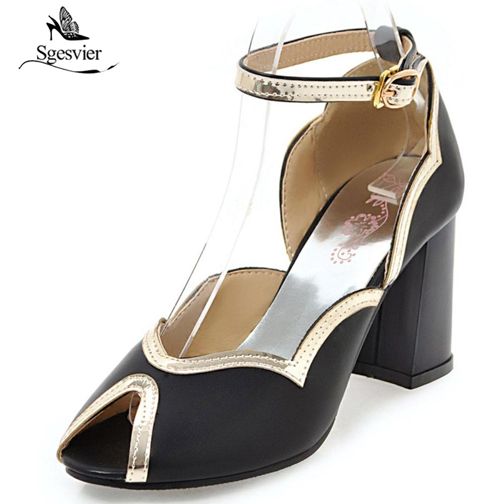 SGESVIER Brand Fashion Women Sandals Ankle Strap Thick High Heel Shoes Sexy Peep Toe Party Wedding Shoes Woman Size 31-43 OX406