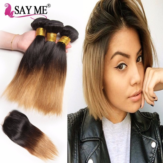 SAY ME Ombre Brazilian Human Hair Bundles With Closure Two Tone Bob Straight Hair 3 Bundles With Closure Non Remy1B27 Hair Weave