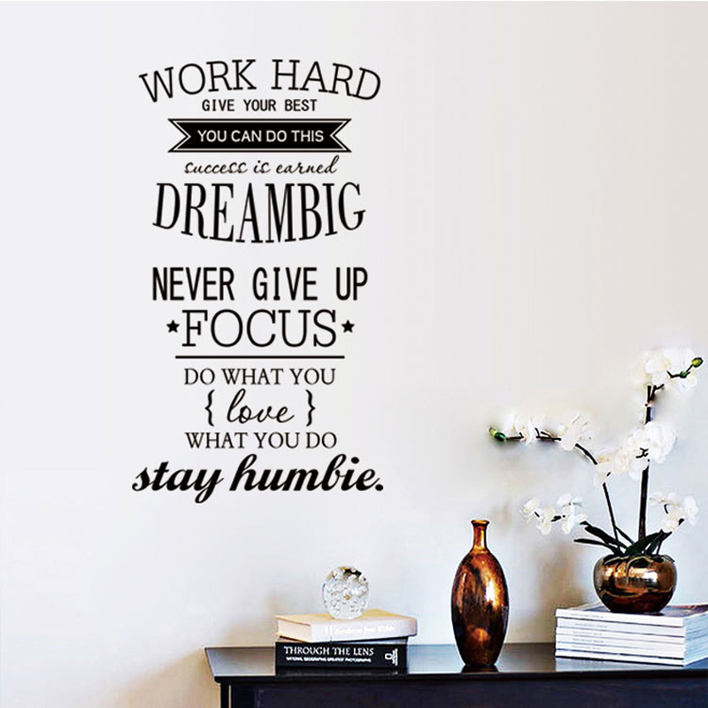Hot Wall Decals Quotes Work Hard Vinyl Letras Decorativas Office Home  Decoration Wall Art Wall Stickers Size 100x56cm In Wall Stickers From Home  U0026 Garden On ...