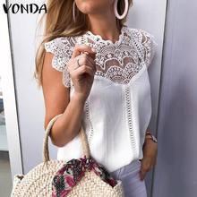 VONDA Sexy Women Blouse 2020 Sexy Sleeveless Lace Shirts Office Ladies