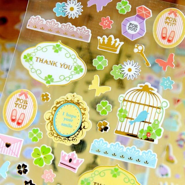 DIY Fluorescence Album Scrapbook Calendar Diary Planner Card Retro Stickers Decoration 1Sheet Cute Cartoon Paper Sticker