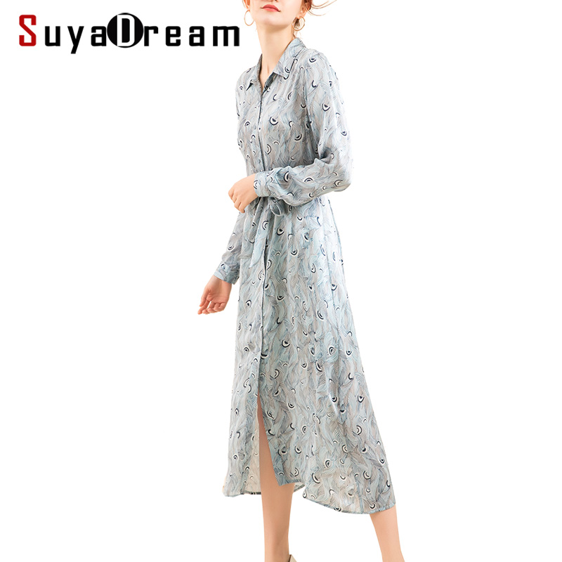 Women Long dress 16mm 100 Real Silk Printed Mid Calf length Dresses for Women 2018 Fall