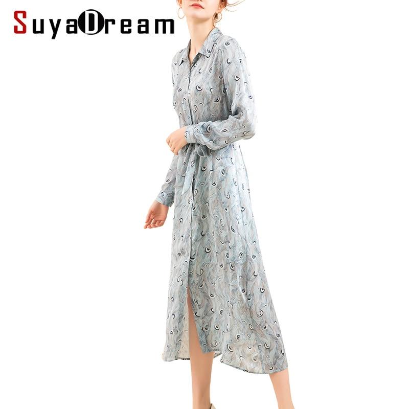 Women Long dress 16mm 100 Real Silk Printed Mid Calf length Dresses for Women 2018 Fall