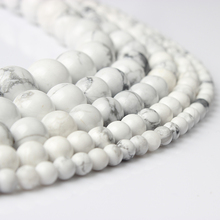 LIngXiang  Fashion Natural stones White Turquoises Round Loose Beads Suitable for DIY female bracelet necklace Jewelry