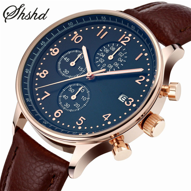 Casual Leather Band Mens Watch Fashion Business Analog font b Display b font Quartz Wristwatches Montre