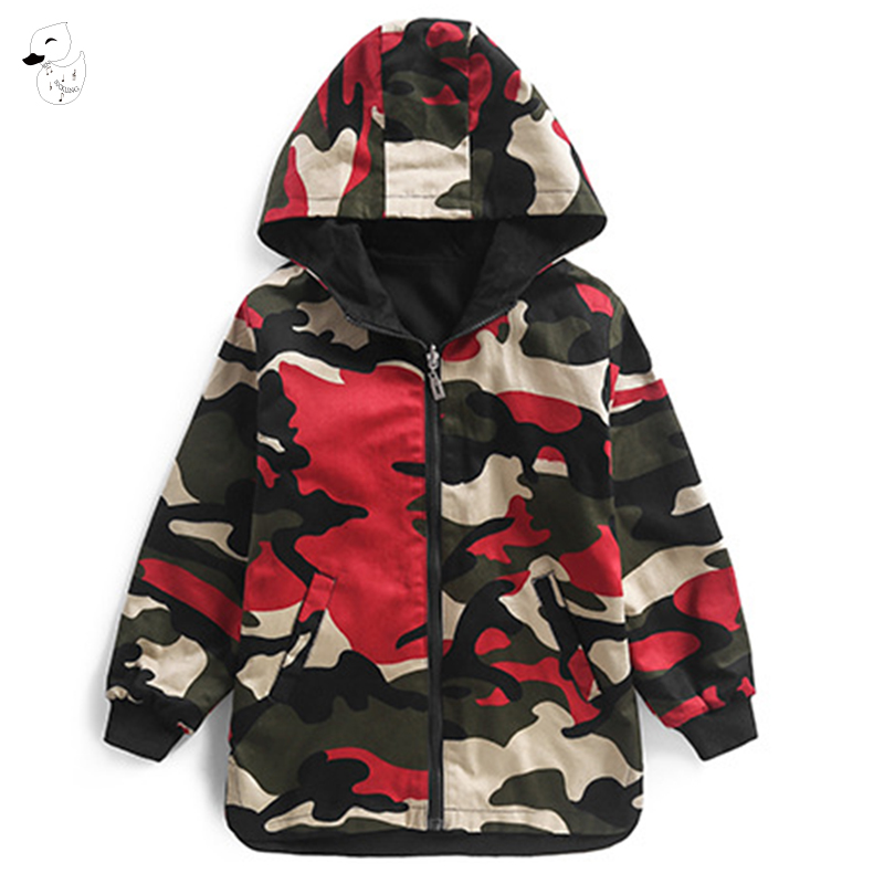 BINIDUCKLING Fashion Boy Hoodies Children Double-side Spring Boys Camouflage Jacket Outwear Kids Long Coat Clothing for Teenager camouflage pattern long sleeves side pockets fashion jacket