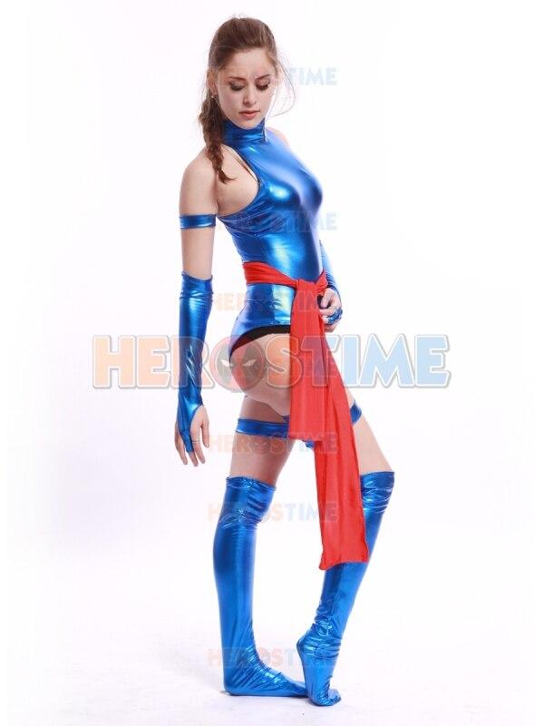 X,Men Costume Shiny Metallic Female Psylocke Sexy Zentai Suit Halloween Cosplay Psylocke Superhero Costume