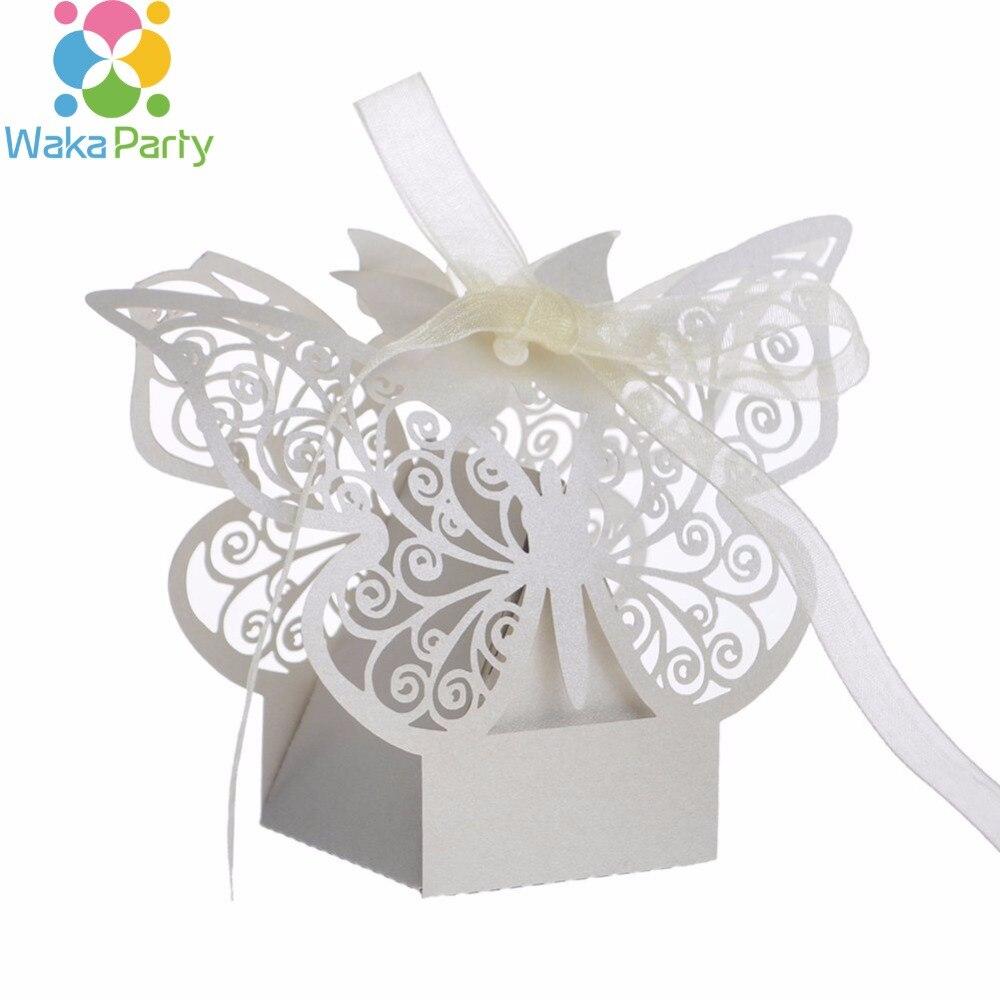 Lot of 50pcs Laser Cut Elegant Butterfly Wedding Candy Box Bridal ...