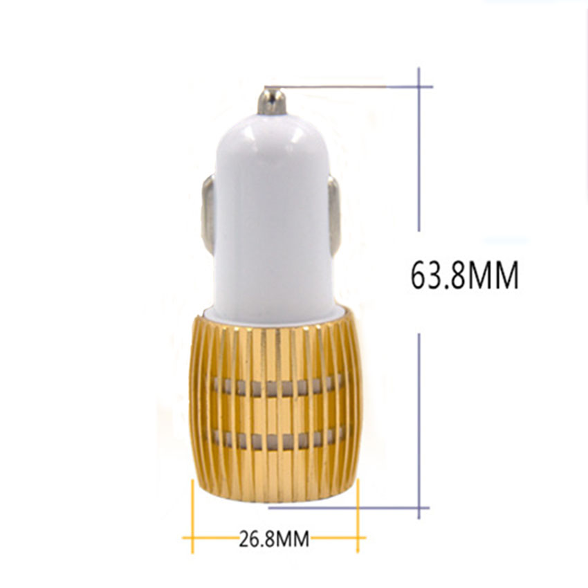 Car Charger Blue Light Alloy Cell Mobile Phone Charger 5V 1A 2.1A Dual USB Quick Charge Adapter For iPhone ios Android Phone (1)