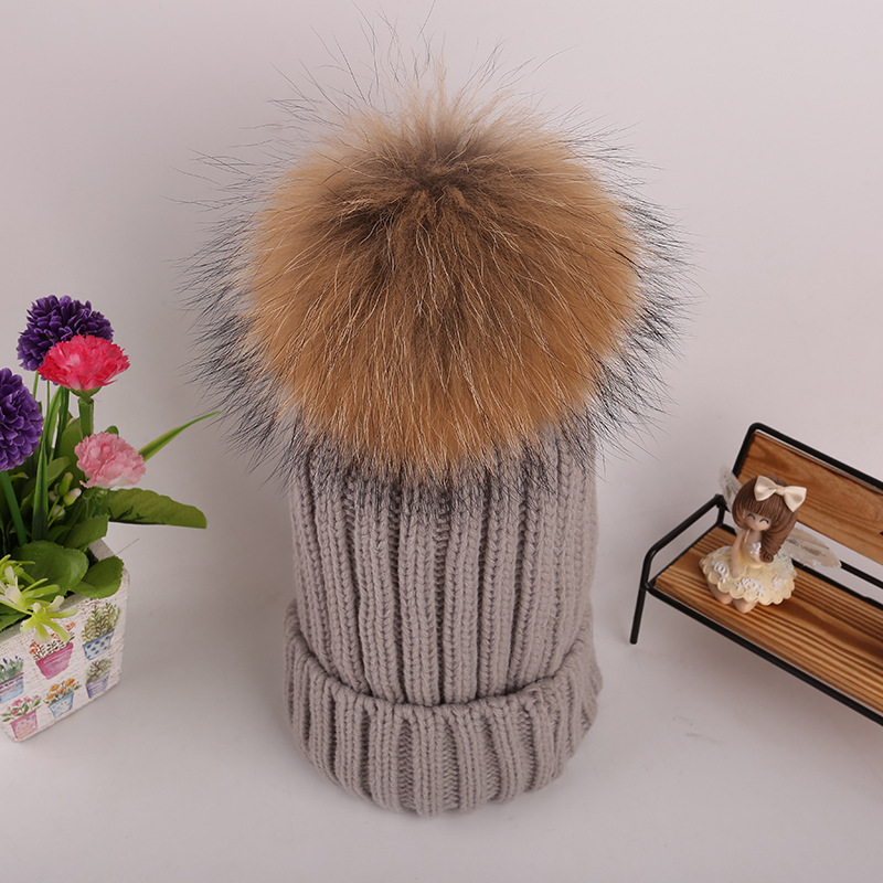 Autumn Winter Beanies Hat knitted Skullies Real Raccoon Big Fur Pom poms Pompom Casual Cap For Women Kids Removable Snaps sparsil women winter raccoon fur ball hat femal autumn skullies beanies knitted cap pompom decoration casual crochet caps