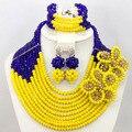 Charms Amarillas Perlas de Boda Joyería de Traje Africana Set Royal Blue Chunky QW472 Dubai Joyería Joyería Del Partido Fijó El Envío Libre