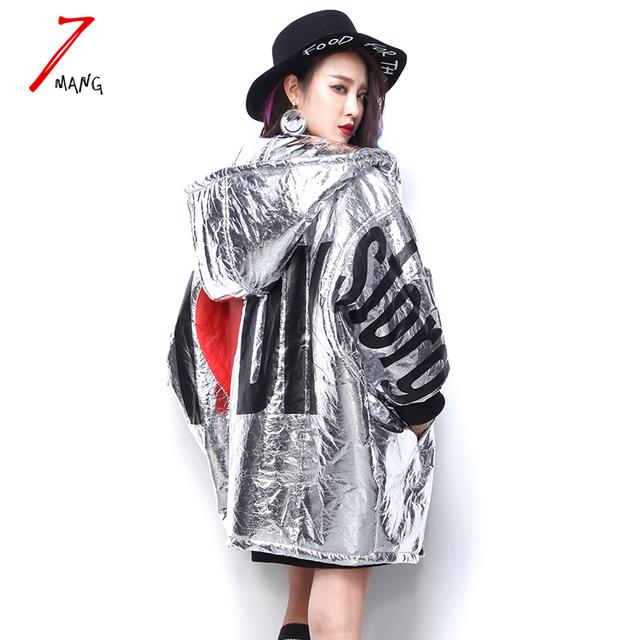 2017 inverno mulheres rua do punk harajuku carta impressão engrossar parka de algodão acolchoado de couro prata com capuz longo casaco de manga morcego