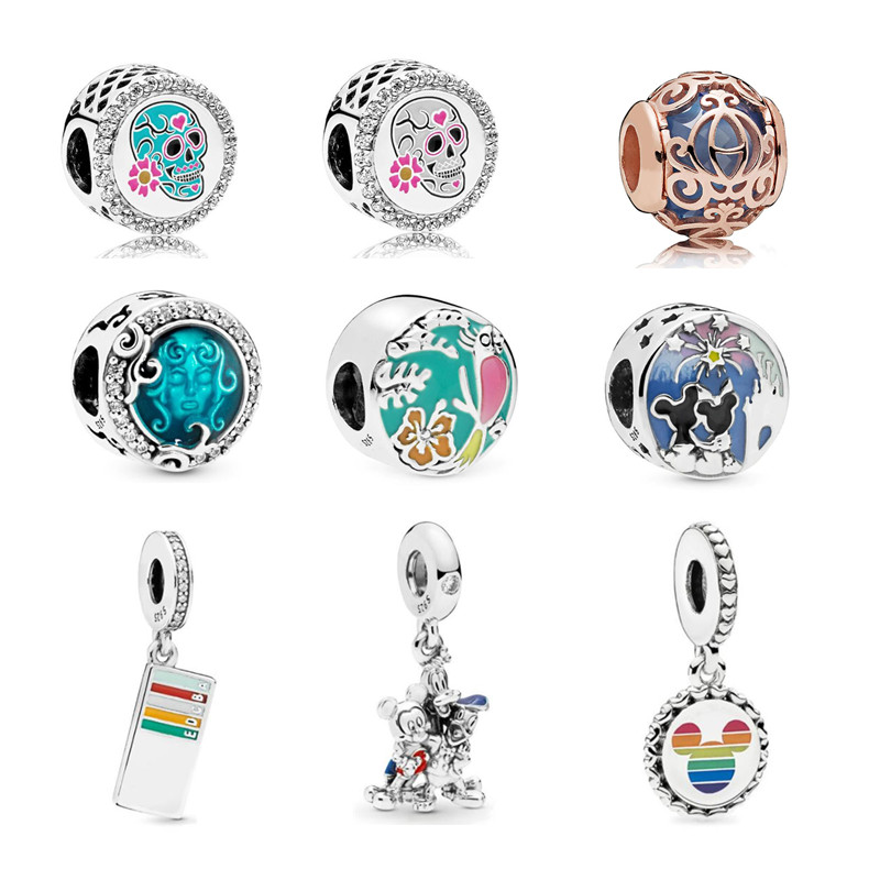 TOP 925 Sterling Silver Rato Parque Rainbow pink lady dog mom corações encantos beads Fit charme talão Pulseira pingente DIY jóias