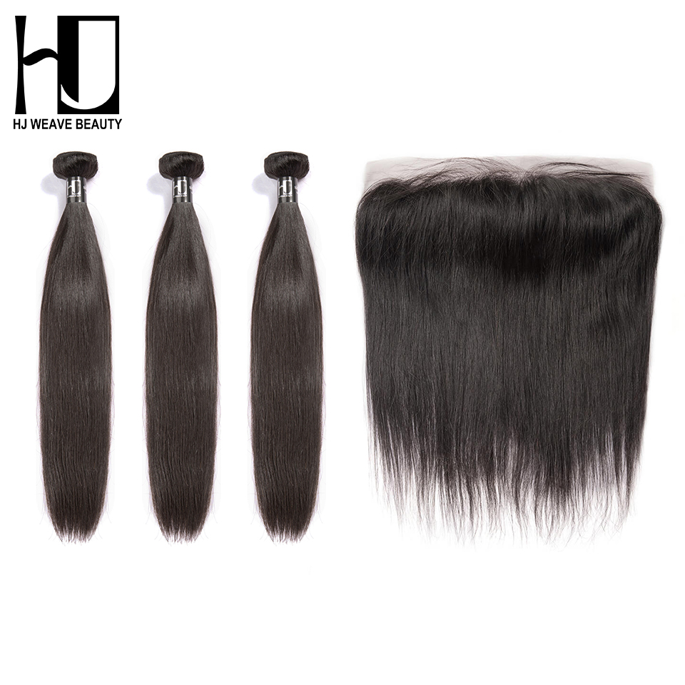 7A HJ WEAVE BEAUTY Straight Bundles With Frontal Indian Virgin Hair 13 4 Frontal Human Hair