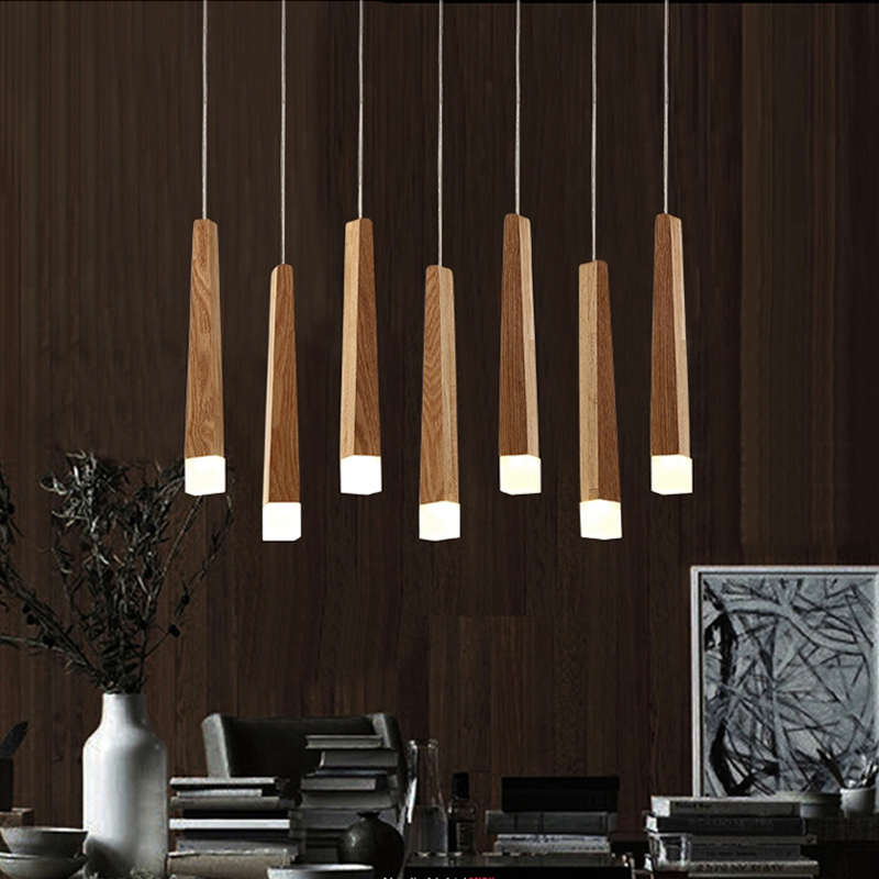 LukLoy Wood Stick Pendant Lamp Light, Kitchen Island Living Room Shop Decoration Modern Bedside Natural Wood Pipe Pendant Lights