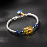 925 Zilveren Sieraden Armband Nationale Wind Ingelegd Natrual Amber Kleine Kralen Geroosterde Blauw Handgemaakte Ontwerp Armband Groothandel