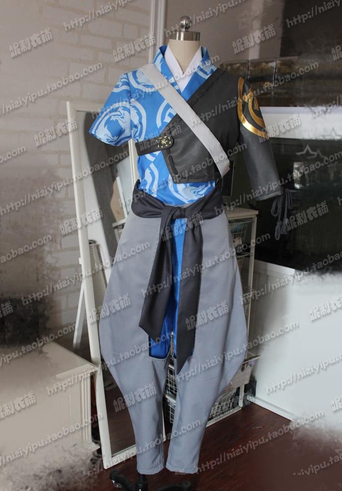 4801c6dddda Известная игра Ханзо Косплэй Хэллоуина равномерное наряд Топ + пальто +  Брюки для девочек + пояс на заказ