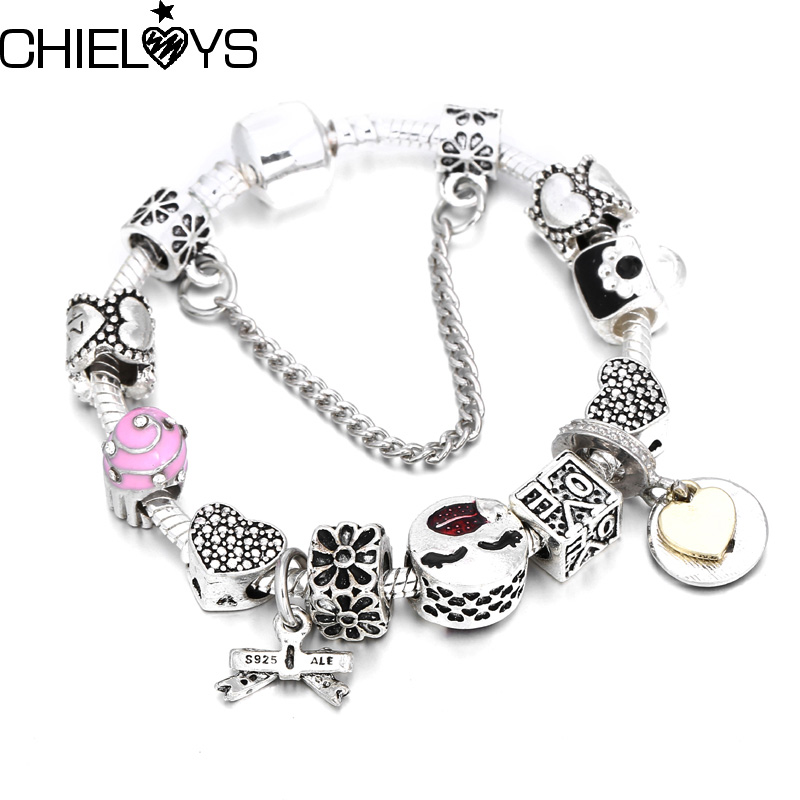 CHIELOYS Beautiful Gift With Bowknot Pendant With Nice Beads Charm Bracelets & Bangles for Women DIY Jewelry Pandora bracelet