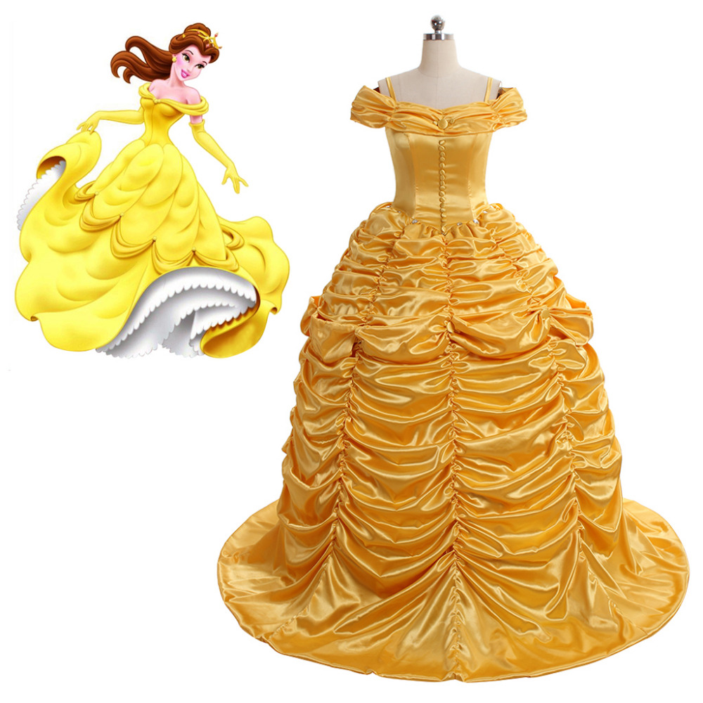 Movie Beauty And The Beast Belle Wedding Dress Costume