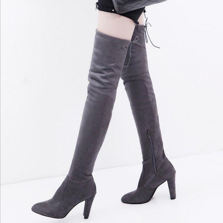 Mujeres Partido Sobre La Altos rojo Zapatos Botas 35 Nuevos De Negro 2018 Grandes Tamaños Rodilla Sexy 43 Tacones gris Mujer Invierno B1237 vAqaTWw