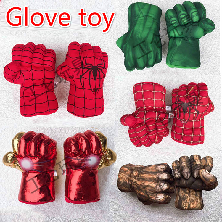 30cm The Avengers Superhero Action Figure Toys Spider Man Hulk Iron Man Soft Plush Boxing Gloves Cosplay Children Boys Gift Toy