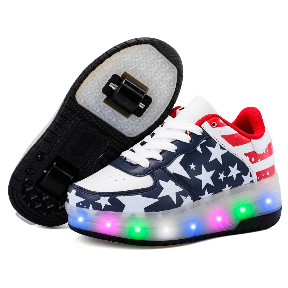 USB Charger Children Shoes With LED Lighted Boy & Girls Roller Sneakers Sports Casual Fashion Kids Two Wheeles Shoes Size 29-40 dinoskulls new kids sport shoes children sneakers breathable leather boy running shoes 2018 girls leisure casual shoes