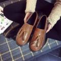 Опрятный Chic Женщины Плоские Туфли Черный Коричневый Ретро Zapatos Mujer Classical Швейная Сторона Кожа Обувь Женщина Круглым Носком Бахромой Скольжения на