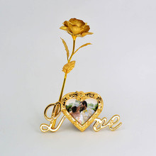 24k Gold Foil Plated Rose Gold Rose with love stand frame Decoration Flower Valentine's Day Gold Dipped Rose artificial flower