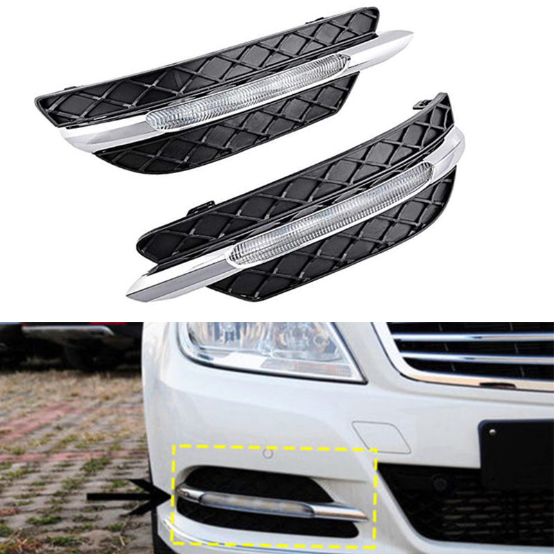 2Pcs LED Daytime Running Light Fog Lamp DRL For Mercedes Benz W204 C-Class 11-13 DXY88 2pcs led fog lamp for benz w204 c class 11 13 car lights auto replacement daytime running lights fog lamp for mercedes for benz