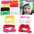 baby bow elastic knot headband beach Variety rabbit ears bow hair band solid cloth headband candy color hair accessories
