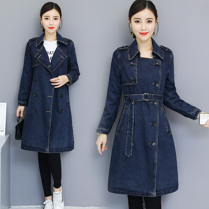 New Spring Autumn Women Coat Plus Size Fashion Casual Single Breasted Embroidery Vintage Slim Jeans Coat For Women Denim   Trench