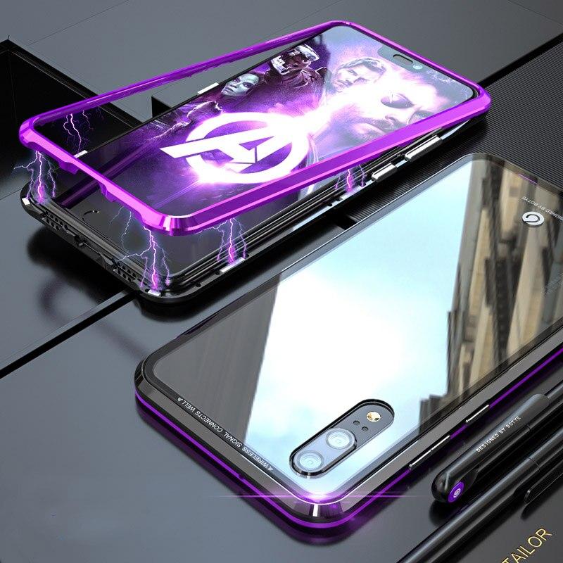 Para Huawei P20 magnética adsorción Fundas a prueba de golpes Metal aluminio 9 H cubierta de vidrio templado para Huawei P20 Pro caso capa
