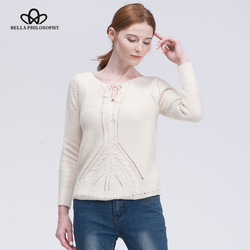 Bella philosophy 2017 lace up knitted pullover sweater hollow out elastic knitting pullover loose autumn winter.jpg 250x250