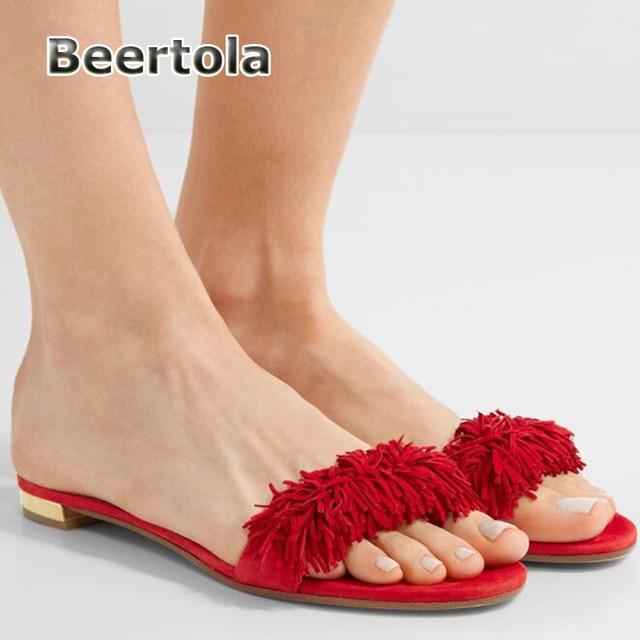 cee2d03bb Beertola Suede Flat Heels Women Slippers Summer Fringe Shoes Women Sandals  Red White Flat Sandals Women