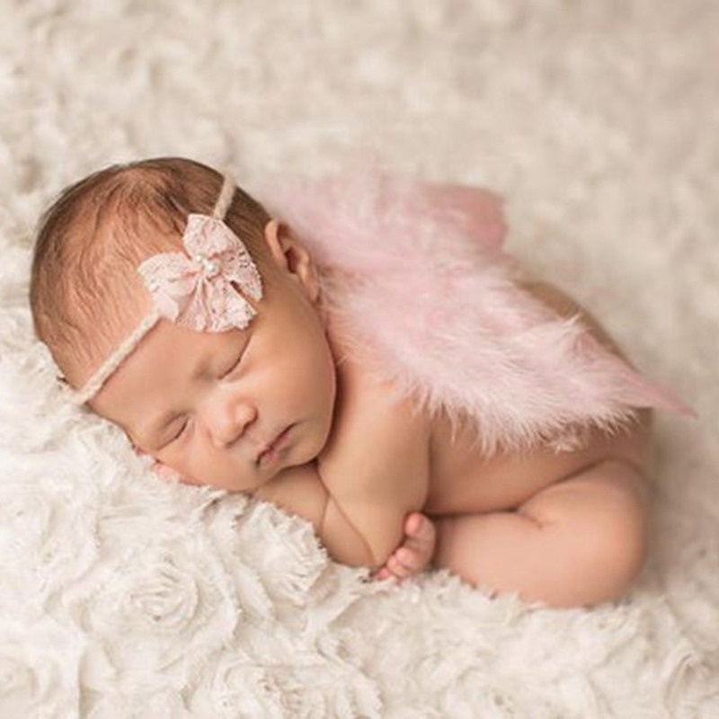 Newborn Photography Props Costume Cute Angel Wings+Headband Photo Props Infant Baby Girls Boys Outfits Accessories 0-6 Months christmas cute crochet knit costume prop outfits photo photography baby ear hat photo props new born baby girls cute outfits