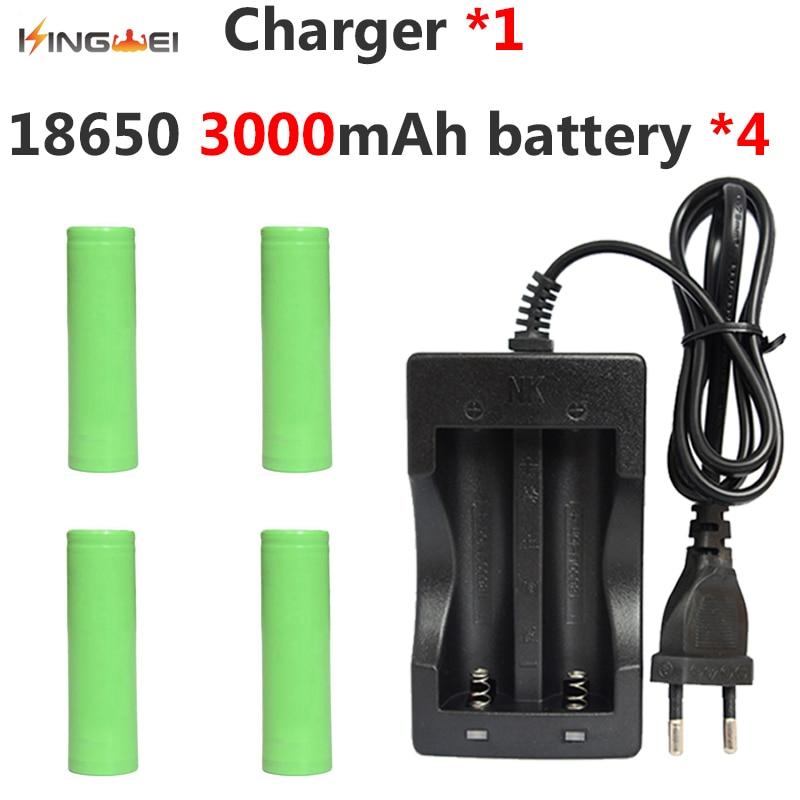 4 pièces KingWei 18650 Batterie 3.7 V 3000 mAh pour Samsung Batterie Li-ion Rechargeable + 1 * NK-809 Double Chargeur pour Lampe de Poche Stylo Laser