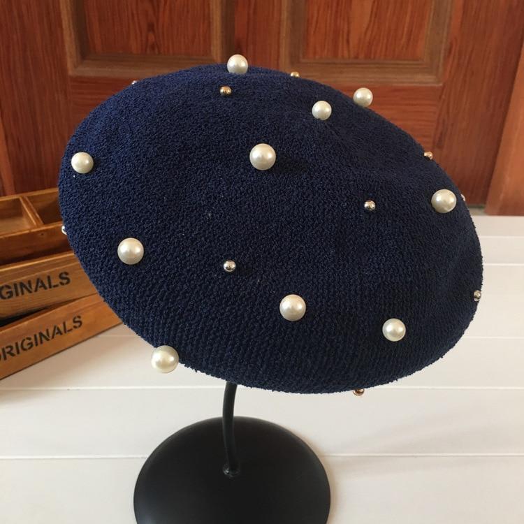 10pcs/lot 01804-duxiao-grace British style solid Pearl painter berets leisure cap women hat wholesale