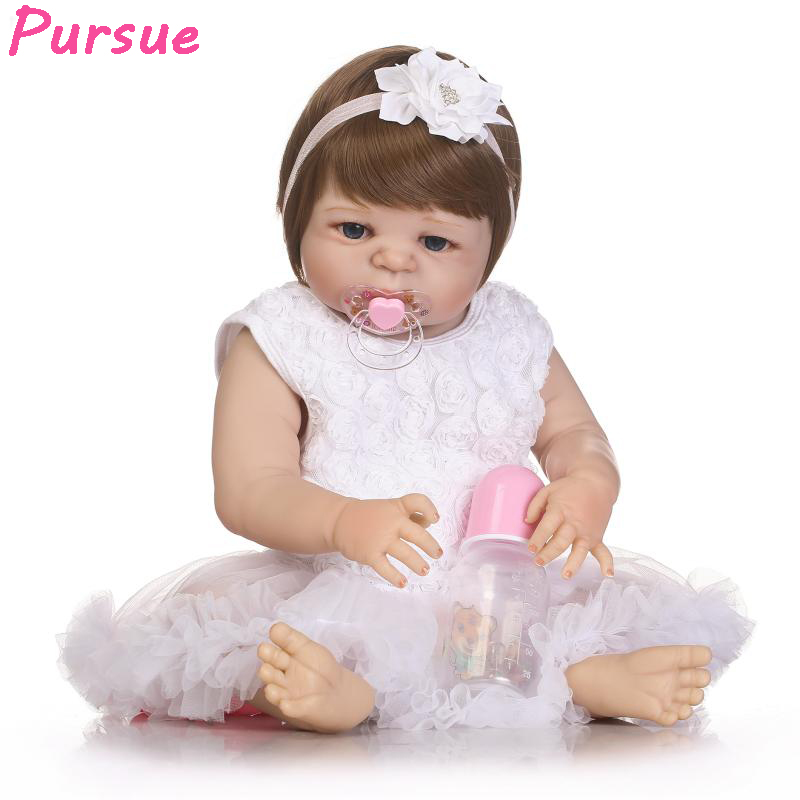 Pursue 22/57cm Princess Girl Real Baby doll Reborn Silicone Baby Dolls for Sale Adora Doll Reborn Baby corpo inteiro de silicon handmade chinese ancient doll tang beauty princess pingyang 1 6 bjd dolls 12 jointed doll toy for girl christmas gift brinquedo