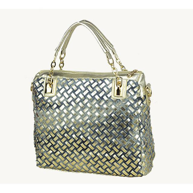 2016 fashion brand luxury bag designer handbags high quality gold diamante woven denim bags shipping