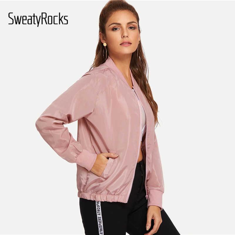 SweatyRocks/однотонная куртка на молнии с карманами, уличная розовая куртка-бомбер с воротником-стойкой, 2019 модные весенние повседневные пальто и куртки