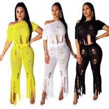 Sexy Hole Top Pants Women Two Piece Sets Outfits Short Sleeve Tassel Tee Crop Tops Slim Cut Out Pants Sweater Suit Nightclub Set все цены