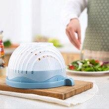 60 Seconds Salad Cutter Bowl Wave Shape Easy Salad Maker Kitchen Tools Fruit Vegetable Chopper Cutter Quick Kitchen Accessories