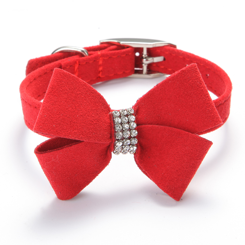 Soft velvet Adjustable necklace Collars for Dog Pet puppy Cat Rhinestone BOW cute small to large dog collar Free shipping