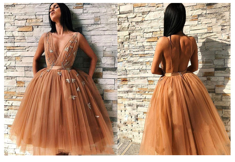Short Evening Dress 2019 Knee Length Orange Flowers Prom Dresses Vestidos De Graduacion Party Dresses